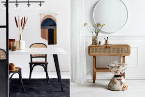 Kleine Möbelstücke wie Stuhl oder Konsole mit dem Interior Trend Wiener Geflecht