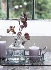 Vasen dekorieren - mit Lunaria-Zweigen