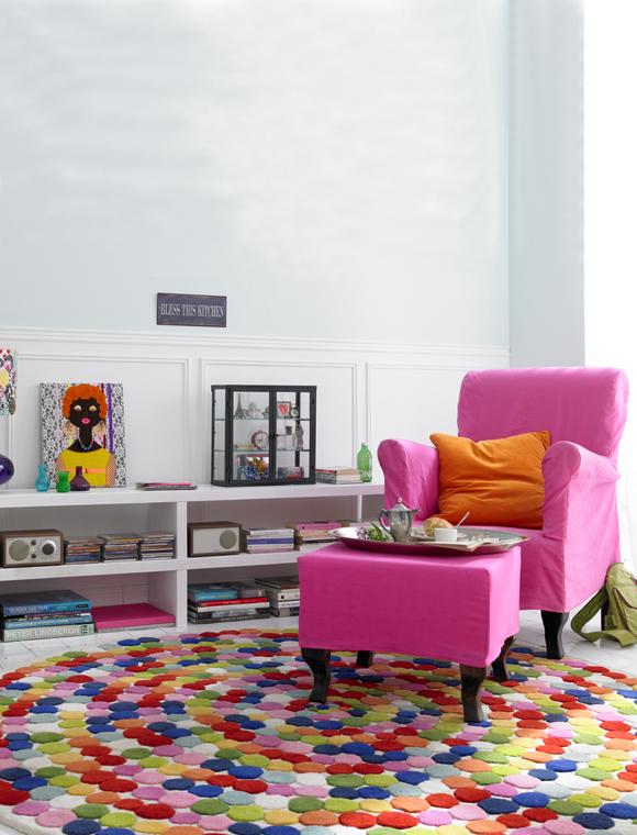 teppich bunte punkte rund car m bel. Black Bedroom Furniture Sets. Home Design Ideas