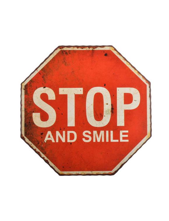 metallschild stop smile car m bel. Black Bedroom Furniture Sets. Home Design Ideas
