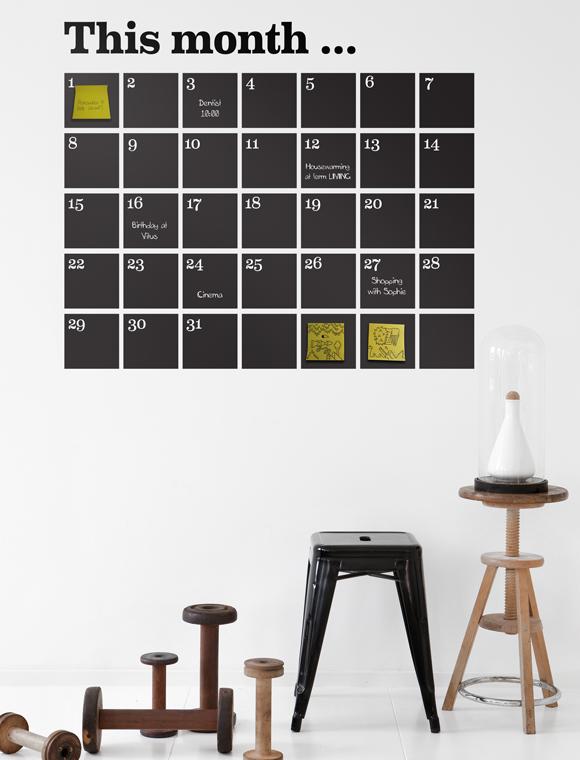 wandtattoo monatsplan von ferm living car m bel. Black Bedroom Furniture Sets. Home Design Ideas